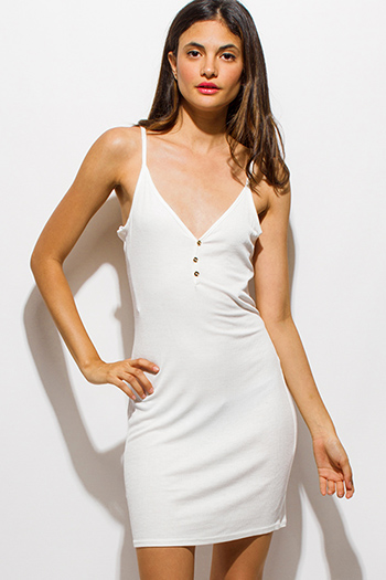 $10 - Cute cheap white ruched dress - white ribbed knit v neck golden button spaghetti strap open back mini slip dress
