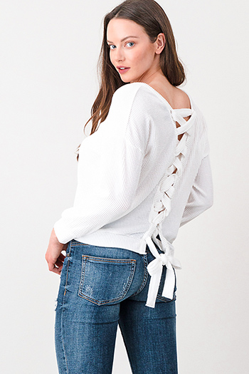 $15 - Cute cheap charcoal gray denim sweater knit long sleeve crop button up jean jacket top - White ribbed long sleeve v neck laceup cut out back top