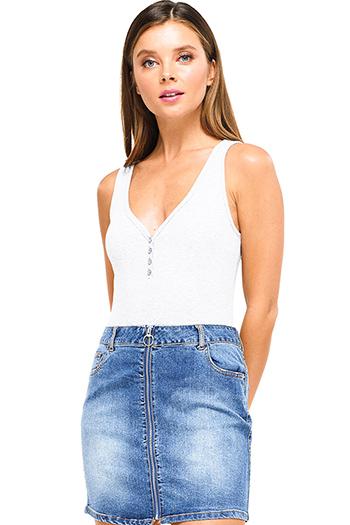 $9.50 - Cute cheap blue washed denim cuffed short sleeve button up pocketed mini shirt dress - White ribbed v neck button up sleeveless bodysuit top
