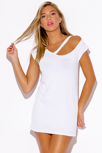 $15 - Cute cheap white ruched dress - white ripped cut out neckline boyfriend tee shirt tunic mini dress