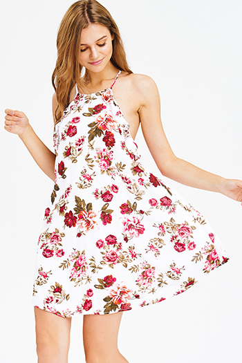 $15 - Cute cheap black shift mini dress - white rose floral print ruffle halter apron neck backless boho shift mini sun dress