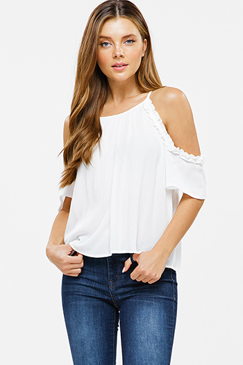 $15 - Cute cheap print sheer sexy party blouse - White ruffled cold shoulder keyhole boho party blouse top