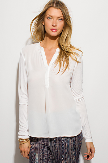 $15 - Cute cheap black semi sheer chiffon button up tunic blouse top - white semi sheer chiffon contrast indian collar long sleeve blouse top