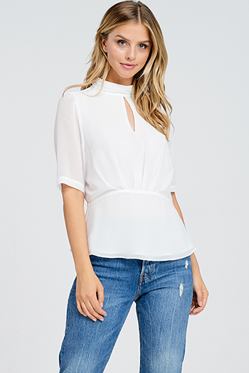 $10 - Cute cheap ruched blouse - White semi sheer chiffon keyhole mock neck half sleeve button up peplum blouse top