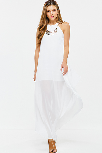 $25 - Cute cheap ivory white lace scallop lace strap mermaid formal evening maxi dress - White semi sheer chiffon statement necklace sleeveless side slit evening maxi sun dress
