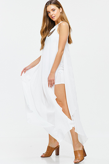 $25 - Cute cheap white v neck ruffle sleeveless belted button trim a line boho sexy party mini dress - White semi sheer chiffon statement necklace sleeveless side slit evening maxi sun dress