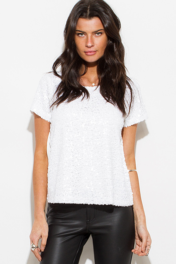 $15 - Cute cheap white ruffle crop top - white sequined short sleeve sexy clubbing top