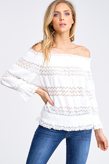$15 - Cute cheap ruched blouse - White sheer crochet lace smocked off shoulder long sleeve boho blouse top