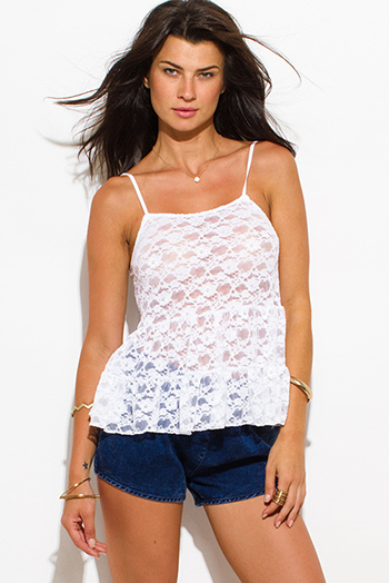 $5 - Cute cheap print backless sexy party top - white sheer crochet lace tiered spaghetti strap beach cover up party tank top