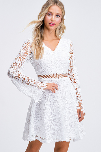 $25 - Cute cheap ruched sexy club mini dress - White sheer crochet lace v neck long bell sleeve a line fit and flare boho party mini dress
