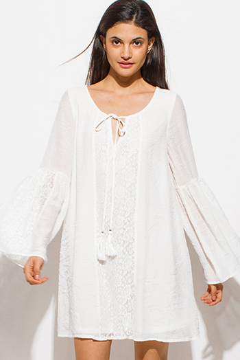 $20 - Cute cheap floral shift mini dress - white sheer lace contrast tassel tie long bell sleeve boho peasant shift mini dress