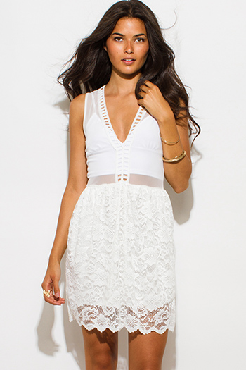 $15 - Cute cheap white crepe bejeweled cut out a line pleated cocktail party shift mini dress - white sheer mesh contrast sheer lace overlay scallop trim a line skater cocktail party sexy club mini dress