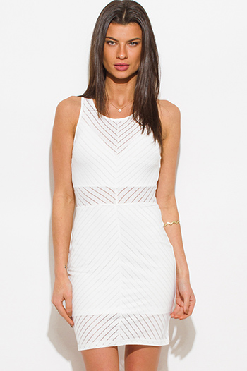 $15 - Cute cheap mesh sheer party catsuit - white sheer stripe mesh sleeveless bodycon fitted pencil sexy club mini dress