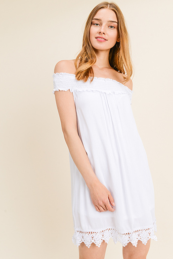 $15 - Cute cheap print pocketed dress - White shirred off shoulder crochet lace trim boho shift mini sun dress