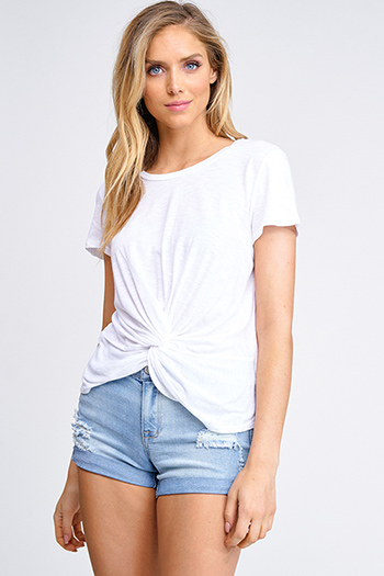 $15 - Cute cheap ribbed dolman sleeve top - White short sleeve round neck twist knot front boho tee shirt top
