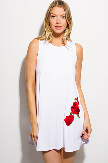 $15 - Cute cheap clothes - white sleeveless rose patch applique embroidered tunic swing mini dress