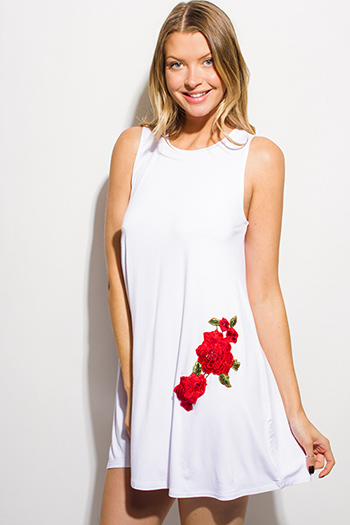 $15 - Cute cheap white bejeweled cocktail dress - white sleeveless rose patch applique embroidered tunic swing mini dress