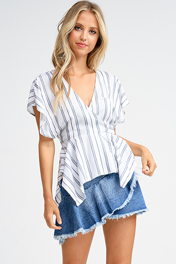 $15 - Cute cheap boho kimono cardigan - White striped v neck short kimono sleeve cut out back wrap tie waist boho top