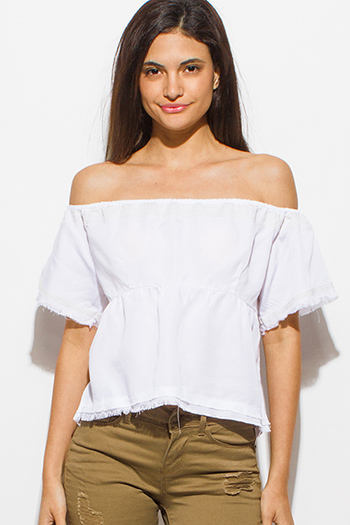 $15 - Cute cheap blue stripe ruffle cold shoulder button up boho blouse top - white tencel embroidered off shoulder short sleeve frayed hem boho crop top