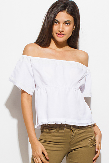 $15 - Cute cheap white watermelon print smocked ruffle off shoulder boho sexy party top - white tencel embroidered off shoulder short sleeve frayed hem boho crop top