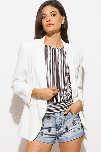 $15 - Cute cheap blue stripe ruffle cold shoulder button up boho blouse top - white textured long sleeve single button padded shoulder blazer jacket