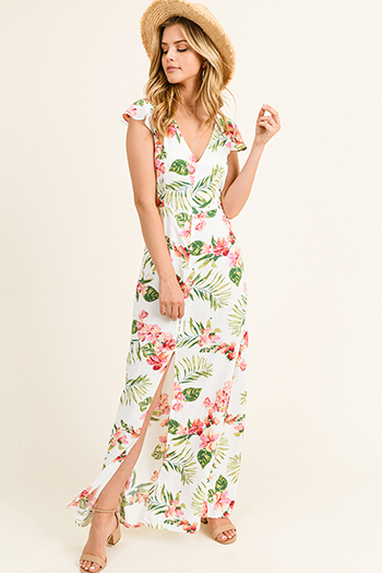 $20 - Cute cheap satin v neck dress - White tropical floral print button up tie back flutter cap sleeve slit boho maxi sun dress