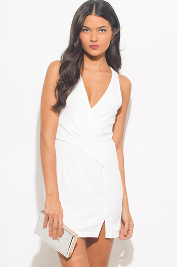 $15 - Cute cheap ribbed open back sexy party mini dress - white v neck faux wrap criss cross back fitted cocktail party mini dress
