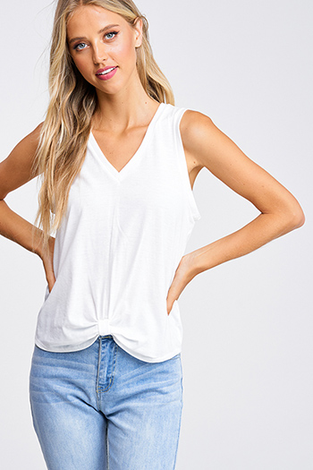 $15 - Cute cheap boho tank top - White v neck gathered knot front boho sleeveless tank top