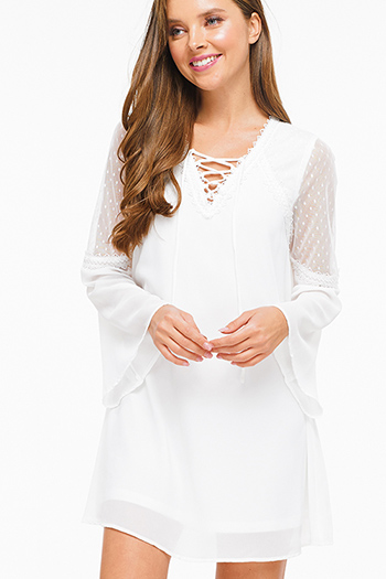 $14 - Cute cheap lace sheer mini dress - White v neck laceup mesh long bell sleeve crochet lace trim boho shift mini dress