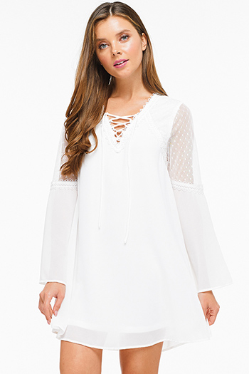 $20 - Cute cheap chambray ruffle dress - White v neck laceup mesh long bell sleeve crochet lace trim boho shift mini dress