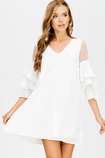 $15 - Cute cheap ivory white sheer stripe mesh low v neck bodysuit bodycon midi dress - white v neck mesh tiered ruffle bell sleeve keyhole back cocktail sexy party boho shift mini dress