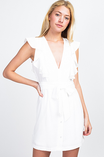 $20 - Cute cheap print backless dress - White v neck ruffled sleeveless belted button trim a line boho sexy party mini dress