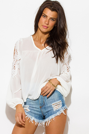 $15 - Cute cheap blue sheer sexy club top - white v neck semi sheer chiffon crochet cut out blouson long sleeve boho blouse top