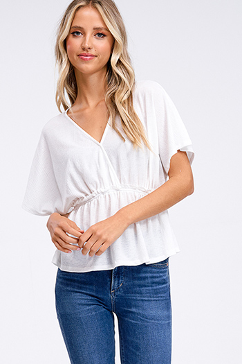 $10 - Cute cheap white ribbed long sleeve v neck laceup cut out back top - White v neck surplice short kimono sleeve empire waist boho top