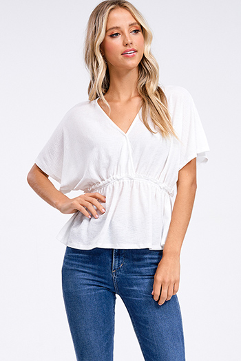 $15 - Cute cheap long sleeve sexy club top - White v neck surplice short kimono sleeve empire waist boho top