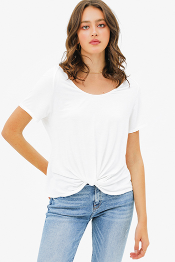 $15 - Cute cheap rust tan cut out ruffle sleeve round neck boho top - White wide scoop neck knot front short sleeve boho tee shirt top