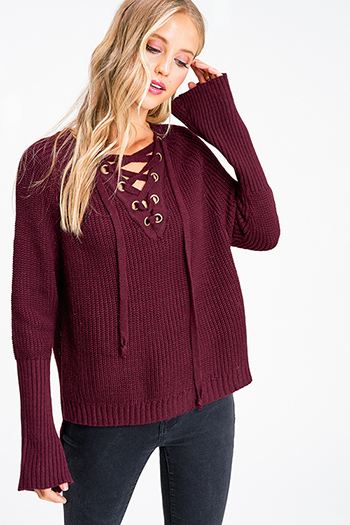 $20 - Cute cheap taupe beige long sleeve oversized hooded boho textured slub sweater top - Wine burgundy caged eyelet laceup front long bell sleeve boho sweater top