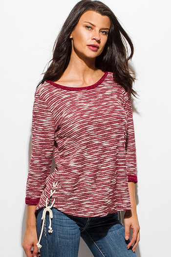$15 - Cute cheap black sheer mesh short sleeve deep v neck laceup beach cover up tunic top - wine burgundy red boat neck long sleeve laceup side sweater knit top