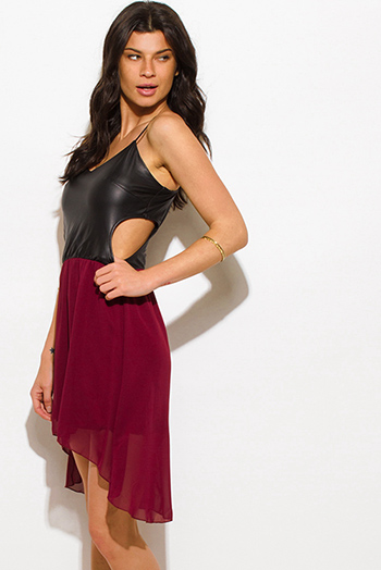 $15 - Cute cheap rosey red high neck satin slit front high low party cocktail mini dress - wine burgundy red chiffon black faux leather cut out high low hem sexy club mini dress