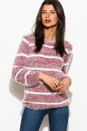 $15 - Cute cheap burgundy red ruched cowl neck button trim knit blouse top - wine burgundy red cotton blend stripe textured long sleeve fuzzy sweater knit top