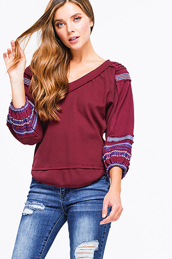 $10 - Cute cheap floral v neck top - wine burgundy red cotton thermal quarter blouson sleeve v neck embroidered boho peasant top