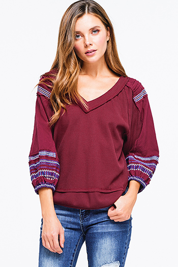 $15 - Cute cheap backless top - wine burgundy red cotton thermal quarter blouson sleeve v neck embroidered boho peasant top