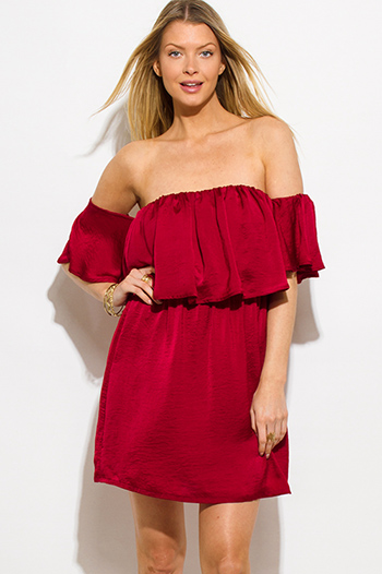 $10 - Cute cheap off shoulder pocketed jumpsuit - wine burgundy red crinkle satin tiered off shoulder boho mini sun dress