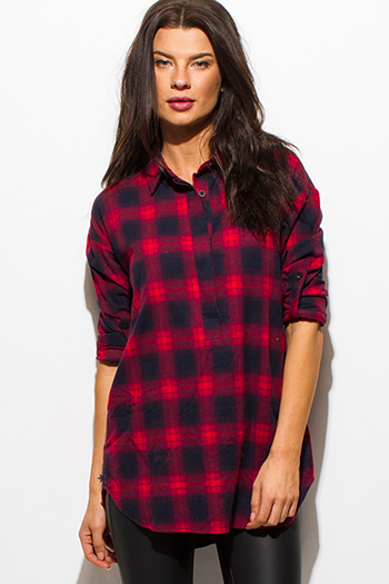 $15 - Cute cheap black plaid print long sleeve flannel button up blouse top - wine burgundy red dark navy blue plaid flannel long sleeve button up blouse top