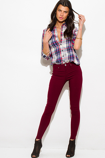 $15 - Cute cheap red fitted sexy party romper - wine burgundy red denim mid rise fitted skinny jeans
