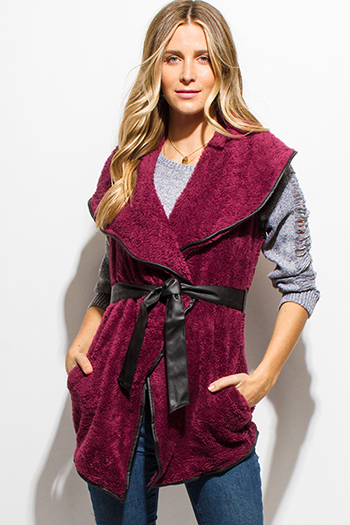 $10 - Cute cheap black faux suede leather trim low v neck sweetheart fitted sexy party tunic top - wine burgundy red fleece faux fur vegan leather tie waist pocketed vest top