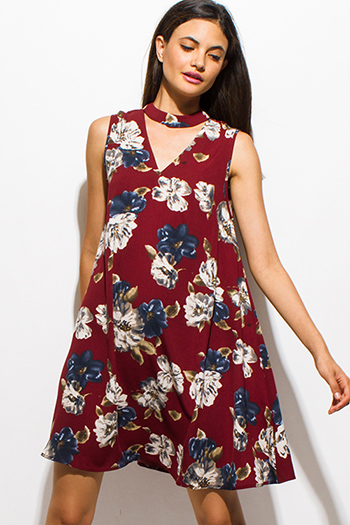 $15 - Cute cheap ruffle boho sun dress - wine burgundy red floral print choker mock neck cut out boho shift mini dress