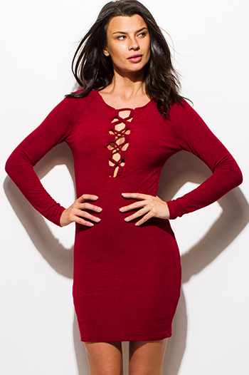 $15 - Cute cheap v neck fitted sexy club mini dress - wine burgundy red knit laceup long sleeve cut out racer back bodycon fitted club midi dress