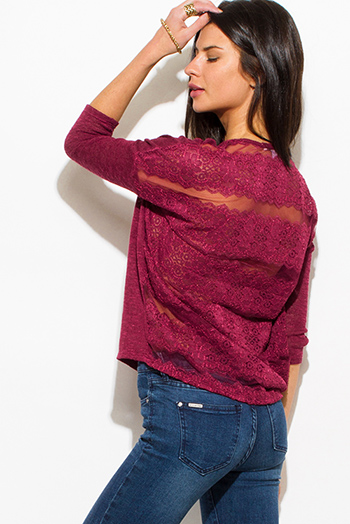 $15 - Cute cheap multi color knit off shoulder fringe trim boho sweater tunic top - wine burgundy red knit sheer lace panel back long sleeve boho sweater top