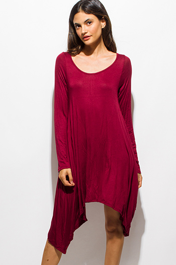 $15 - Cute cheap draped bejeweled dress - wine burgundy red long sleeve asymmetrical hem boho midi dress